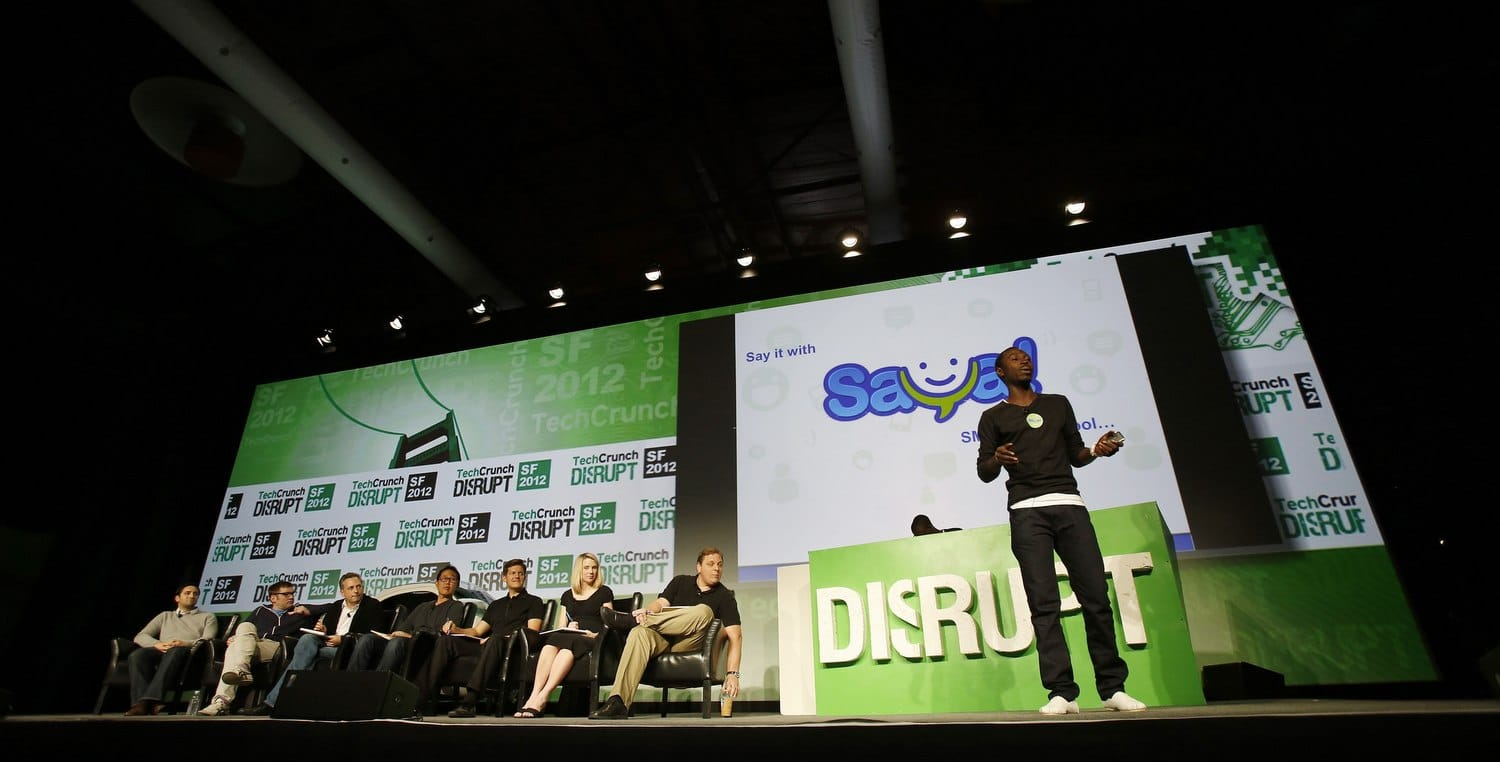 Judges listen on stage during TechCrunch Disrupt SF 2012 in San Francisco