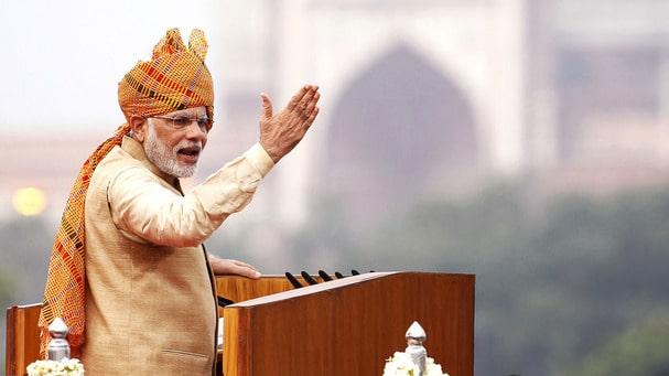 New Delhi, India - Aug. 15, 2015: Prime Minister Narendra Modi addressing the nation from the ramparts of the Red Fort on the occasion of 69th Independence Day celebration in New Delhi, India, on Saturday, August 15, 2015. (Photo by Ajay Aggarwal/ Hindustan Times)
