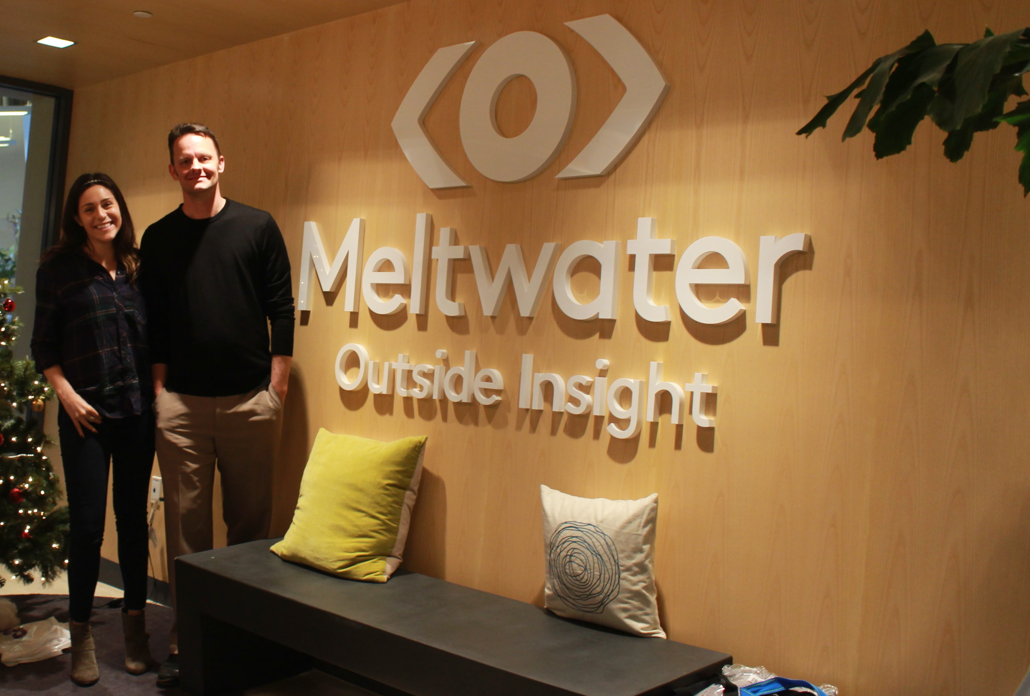 Neal Hansch, MEST MD and Katie Sarro, business dev at the Meltwater offices in San Francisco